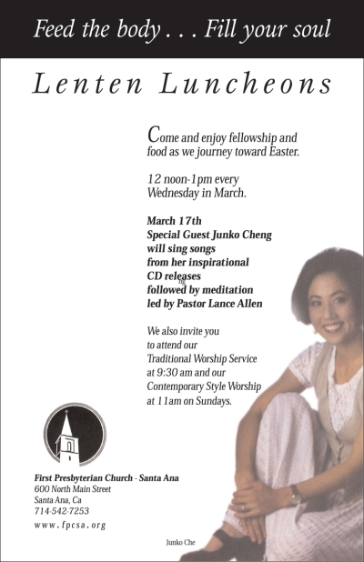 Lenten Lunch flyer - Junko Cheng, March 17